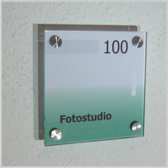 Türschild 2-Scheiben System Glas 150 x 150 mm incl. Abstandhalter