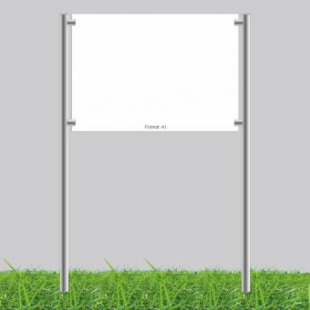 Edelstahl Standschild | Aluverbundplatte 3 mm | DIN A1 | ohne Beschriftung